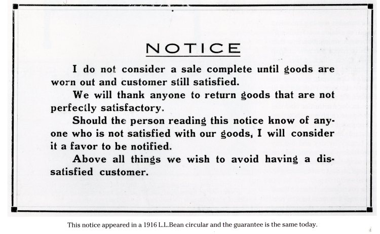LL Bean knew all about customer service!